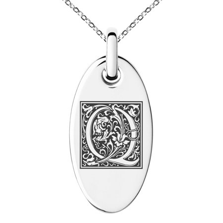 Sterling Silver Floral Pendant - Stainless Steel Letter Q Initial Floral Box Monogram Engraved Small Oval Charm Pendant Necklace