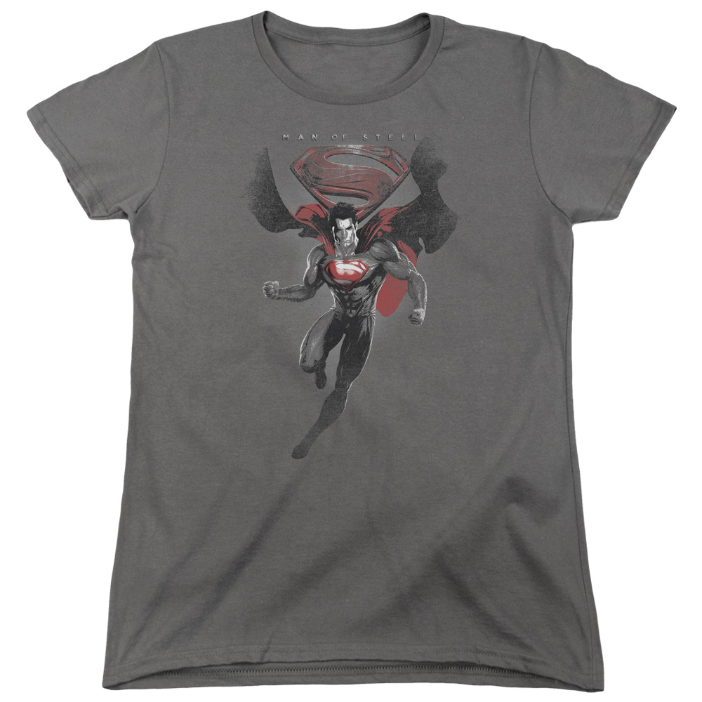 Man of Steel Superman Mos Distressed Womens Short Sleeve Shirt