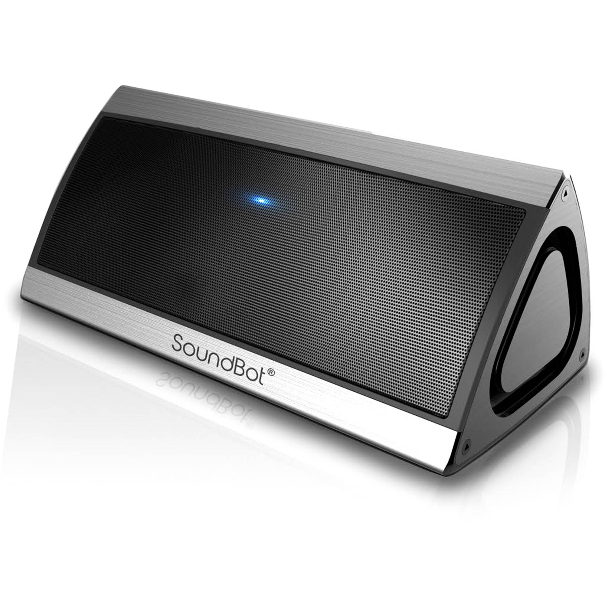 SoundBot SB520 3D HD Bluetooth 4.0 Wireless Speaker with Passive Sub Woofer, Built-in Mic and 3.5mm Audio Port, Silver