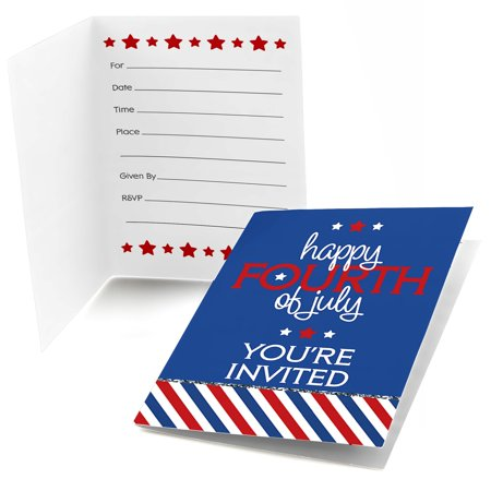 4th of July - Fill In Independence Day Party Invitations (8 count)