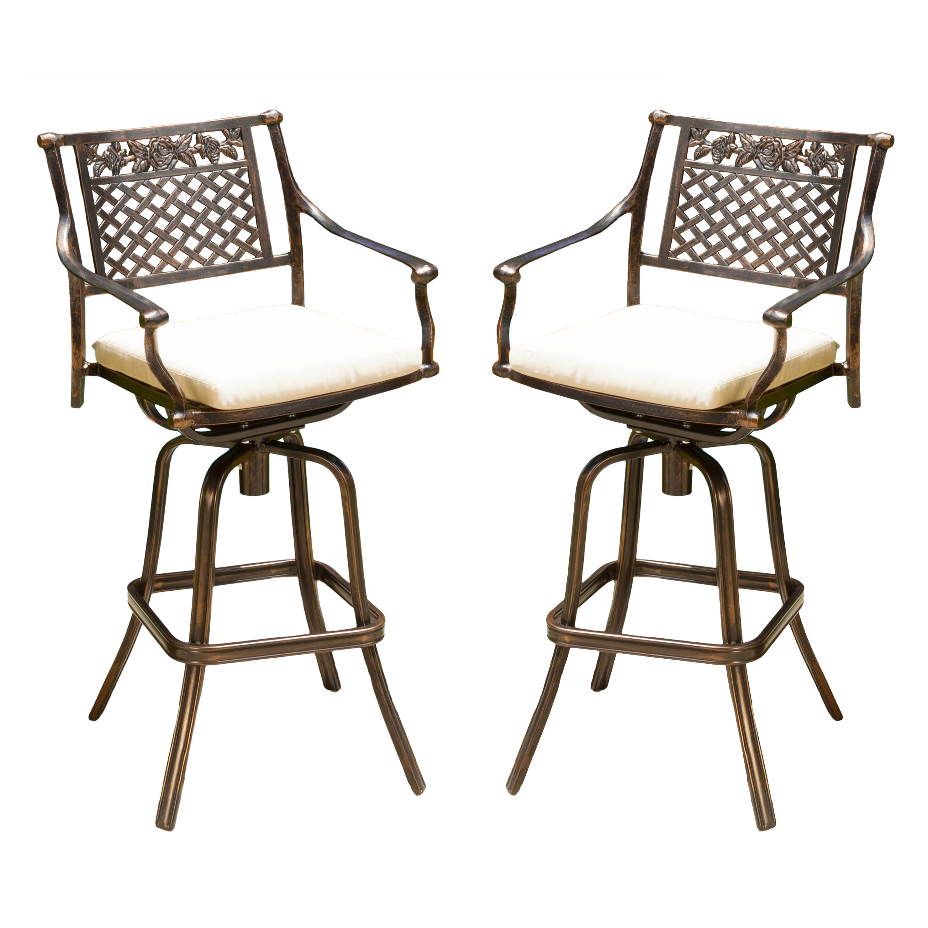 Sienna Cast Aluminum Bar Stool with Cushions (Set of 2) by GDF Studio
