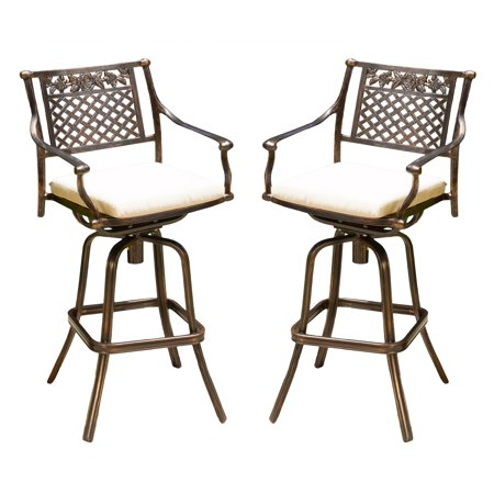 Sienna Cast Aluminum Barstool With Cushions  Set Of 2