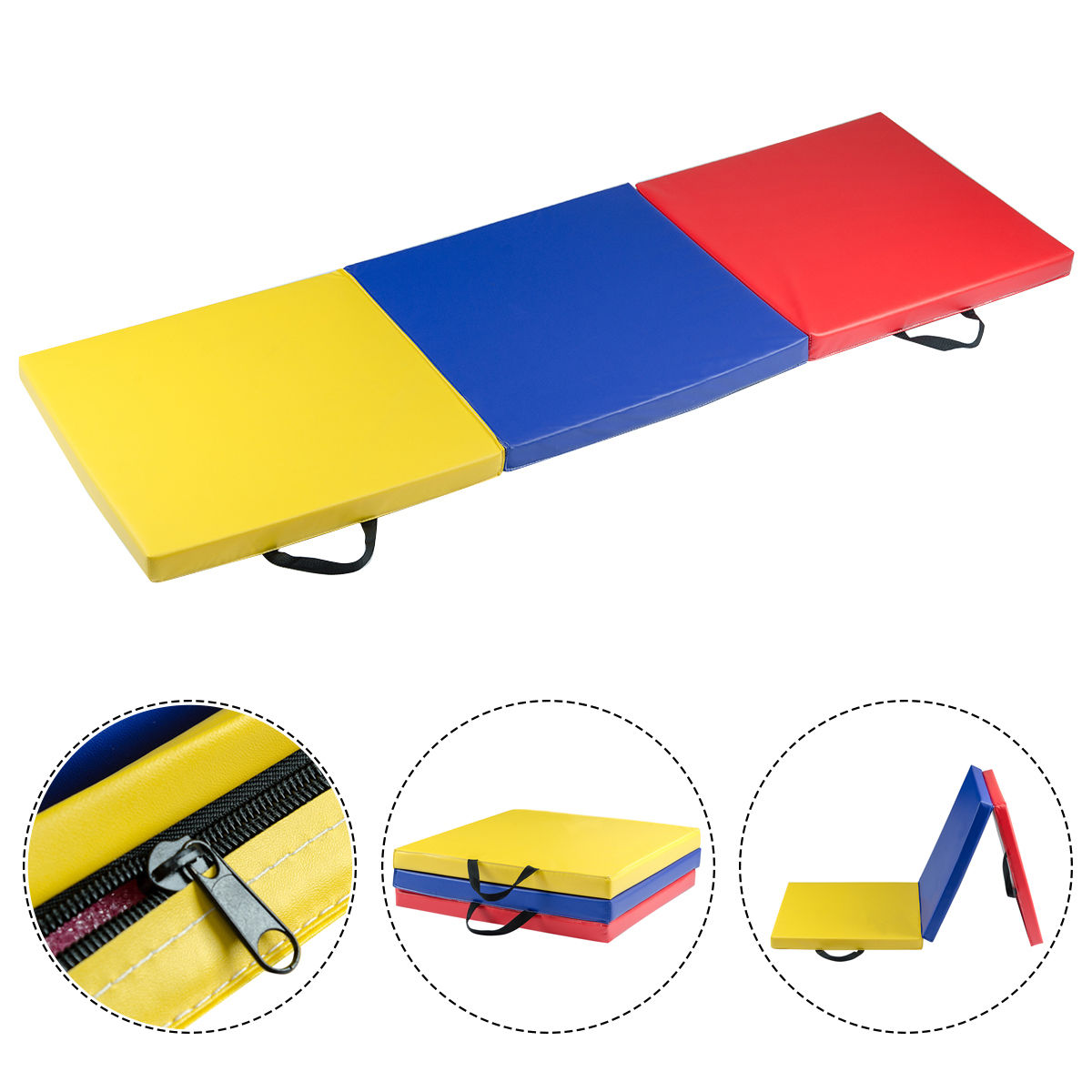 GHP Home/Gym Compact Durable PU Leather Surface Tri-Fold Exercise Mat w Handles