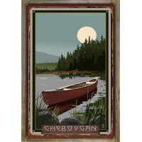 "Cheboygan Canoe In Moonlight Metal Art Print by Mike Rangner (9"" x 12"")"