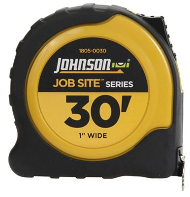 Johnson Level & Tool 1805-0030 Job Site Power Tape Measure, Nylon-Coated Blade/Rubberized Case, 1-In. x 30-Ft.