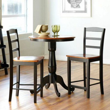 Counter High Round Table.International Concepts Oakdale 3 Piece Round Counter Height Dining Table With 2 Madrid Stools Black Cherry