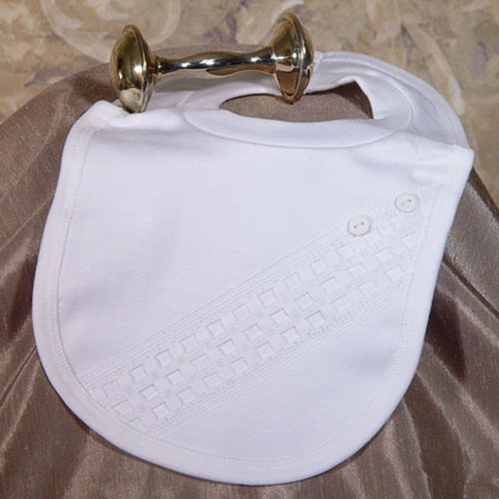 Little Things Mean A Lot Baby White Cotton Bib Baptism Windowpane Trim