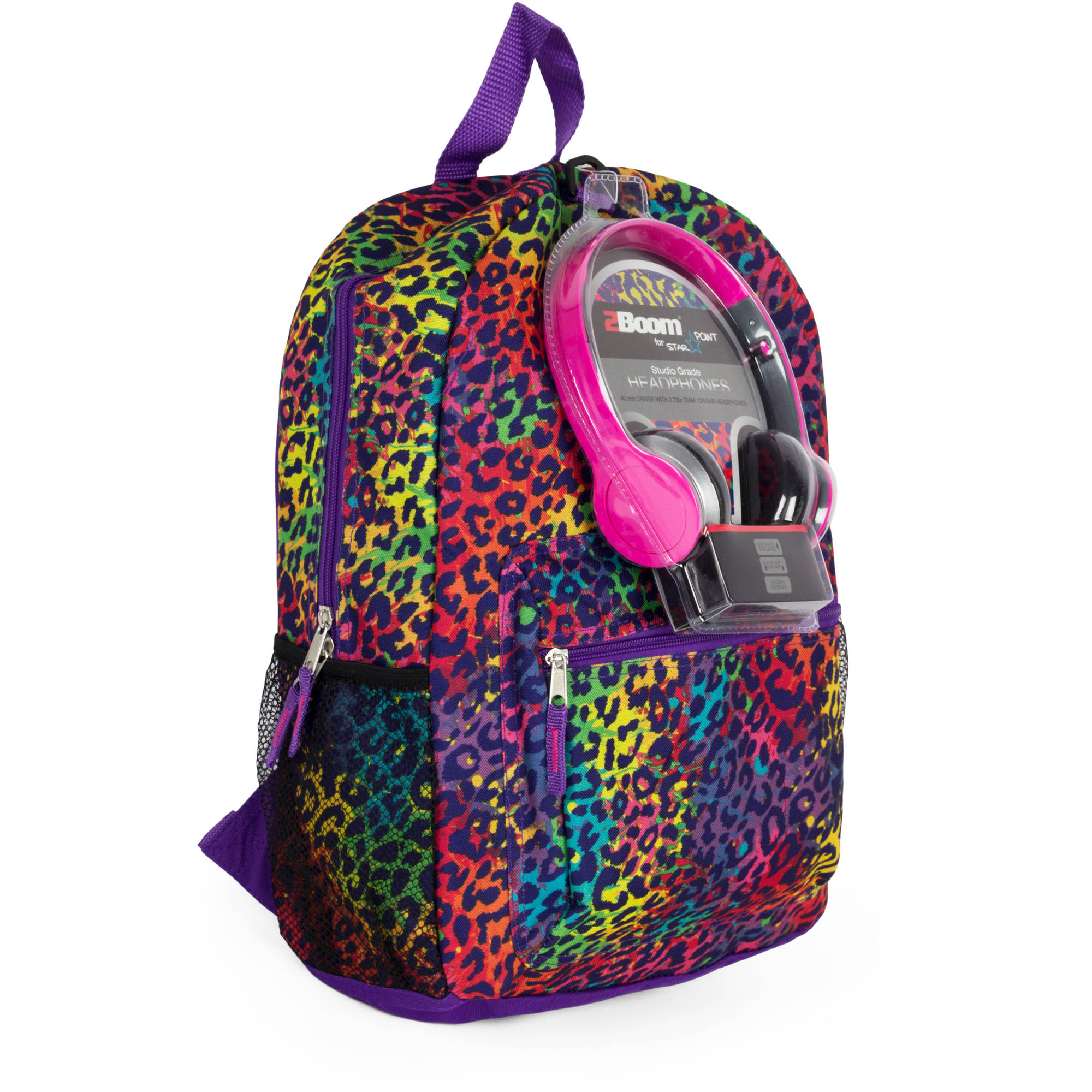 "Rainbow Cheetah 17"" Backpack with Headphones"