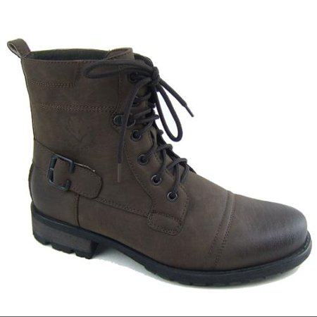 Polar Fox Mens Ankle Boots Lug Sole Military Lace Up