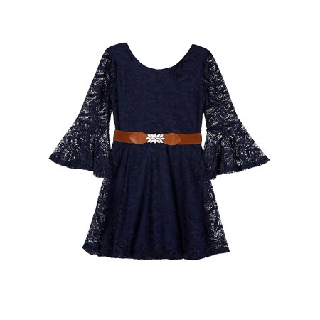 Amy Byer Bell Sleeve Lace Dress with Belt (Big