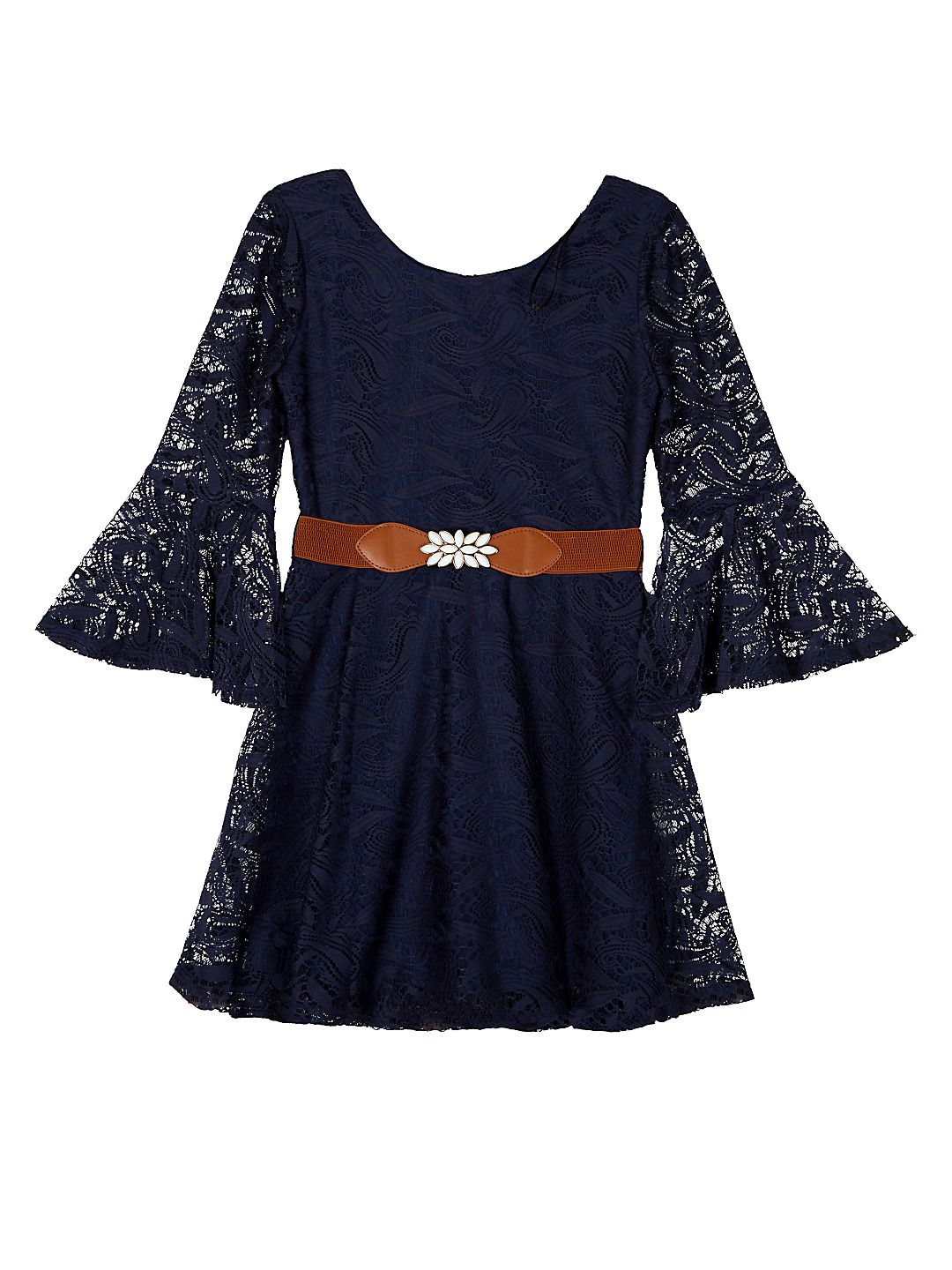 Bell Sleeve Lace Dress with Belt (Big Girls)