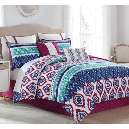 12 Piece Aztec Stripes Mint Purple Navy Bed In A Bag Set