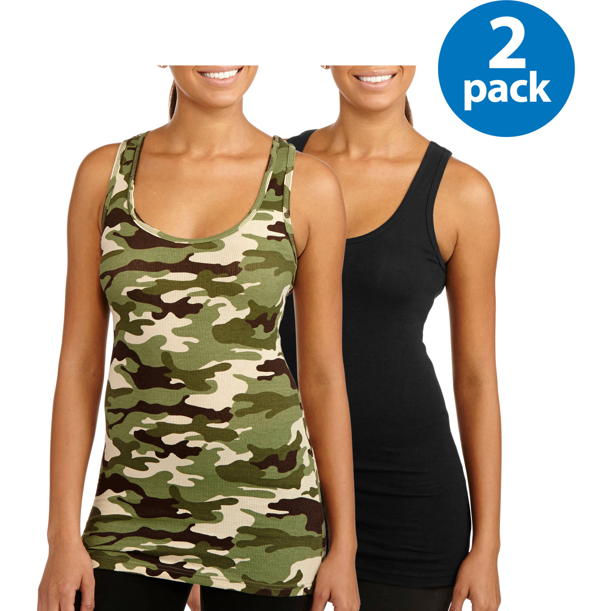 No Boundaries Juniors' Graphic Racerback Ribbed Tank 2 Pack