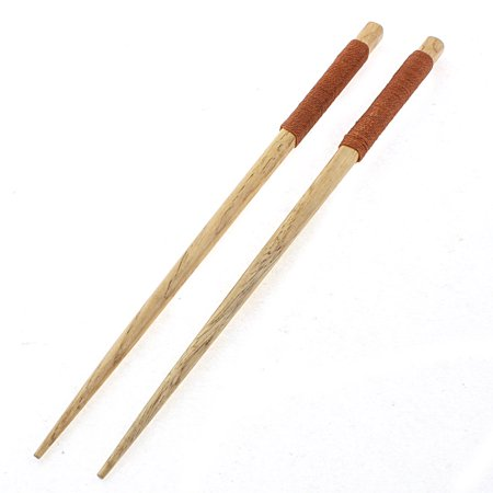 Unique Bargains Home Kitchen Tableware Twine Nonslip Handle Wooden Chopsticks 22.5cm Length Pair
