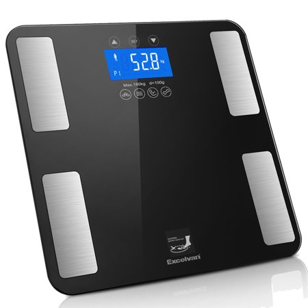 Excelvan Body Fat Scale, Smart Weight Scale 400 lbs with BMI Body Fat Composition Analyzer, Large Display, Smart Bathroom Wireless Weight Scale Work with iOS and