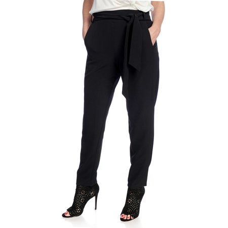V. by Vanessa Williams Women's Stretch Woven Self-Tie Pants in Black -