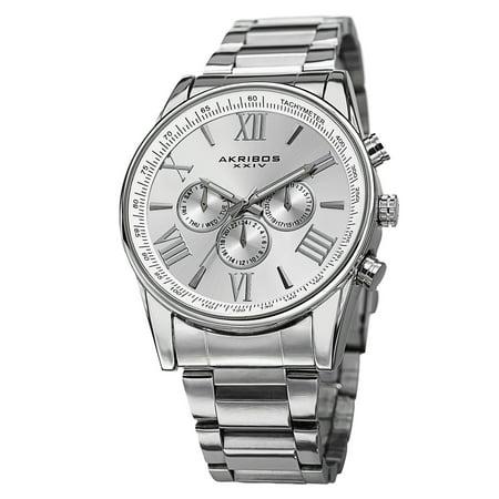 Men's Multifunction Tachymeter Stainless Steel Silver-Tone Bracelet Watch