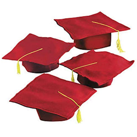 Graduation Hats, w/Gold Tassel, Red; one dozen, Felt Graduation Caps; pack of 12; - Graduation Hat Card Box