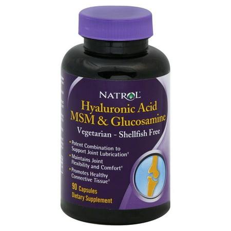 Natrol Acide Hyaluronique MSM et Glucosamine capsules végétariennes, 90 Ct