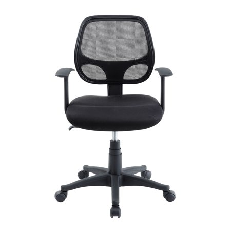Mainstays Mesh Office Chair With Arms, Black Fabric with Black Mesh