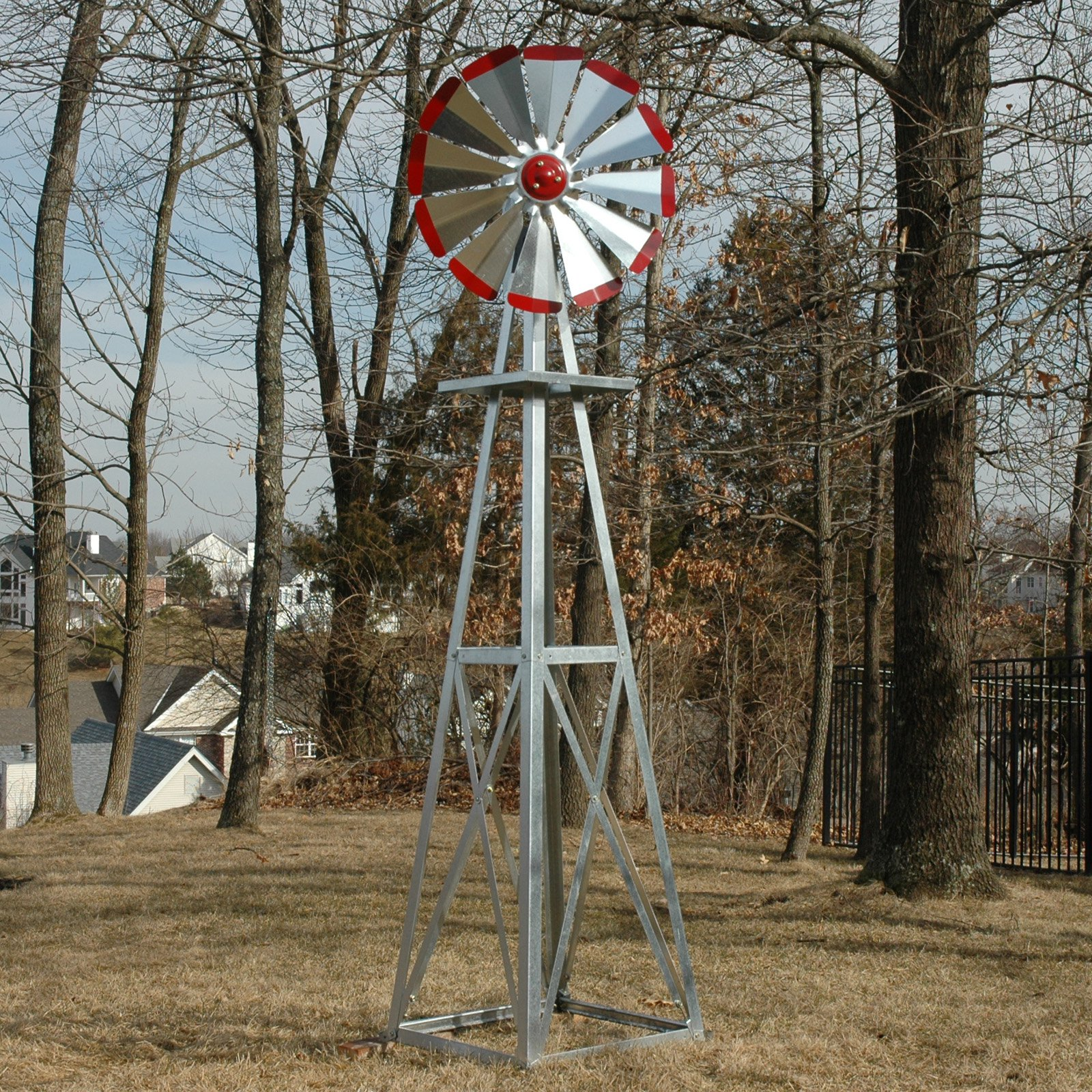 Decorative 8 ft. Galvanized Windmill Red Tips by Outdoor Water Solutions