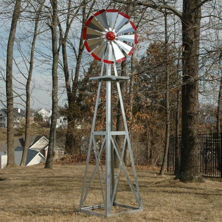 8' Decorative Windmill - Decorative 8 ft. Galvanized Windmill - Red Tips