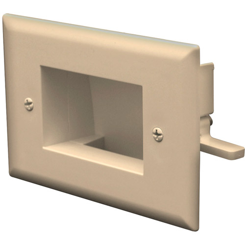 Datacomm Electronics 45-0008-LA Easy-Mount Recessed Low-Voltage Cable Plate, Light Almond