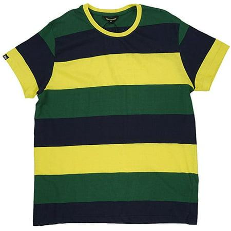 IMPERIOUS  Striped Men's T-Shirt in Yellow / Navy / Green   (MEDIUM)  (Green Striped T-shirt)