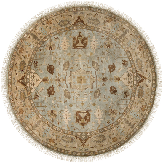 8' Beraber Taupe Beige, Fawn and Ecru Round Wool Area Throw Rug