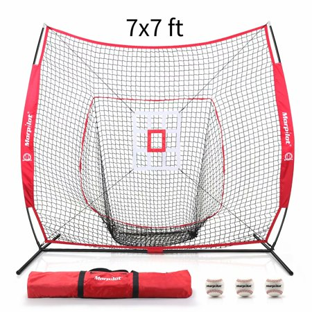 Morpilot 6pc Baseball/Softball Bundle | 7x7 Hitting Net | 3 Weighted Training Balls | Strike Zone Target | Carry Bag | Practice Batting, Pitching, Catching | Backstop Screen Equipment Training Aids