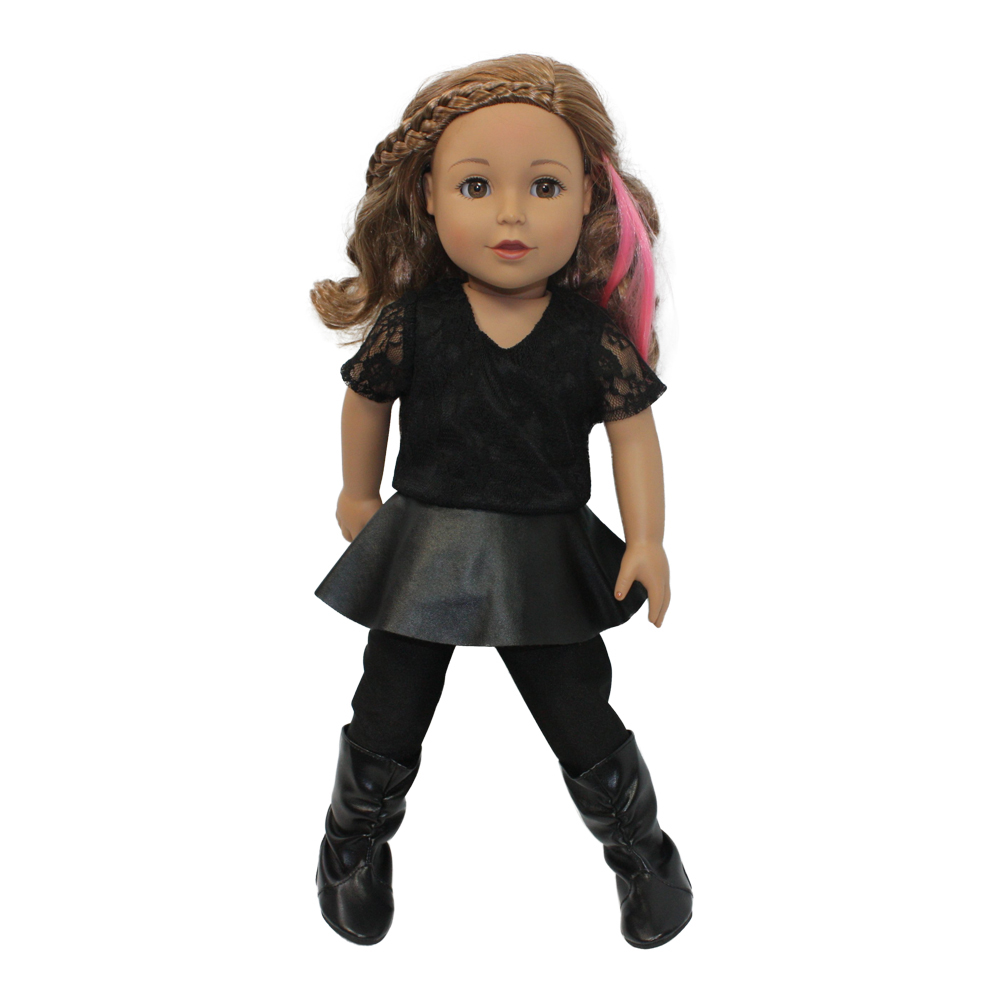 Arianna Leather N Lace Peplum Outfit Fits 18 Inch Dolls