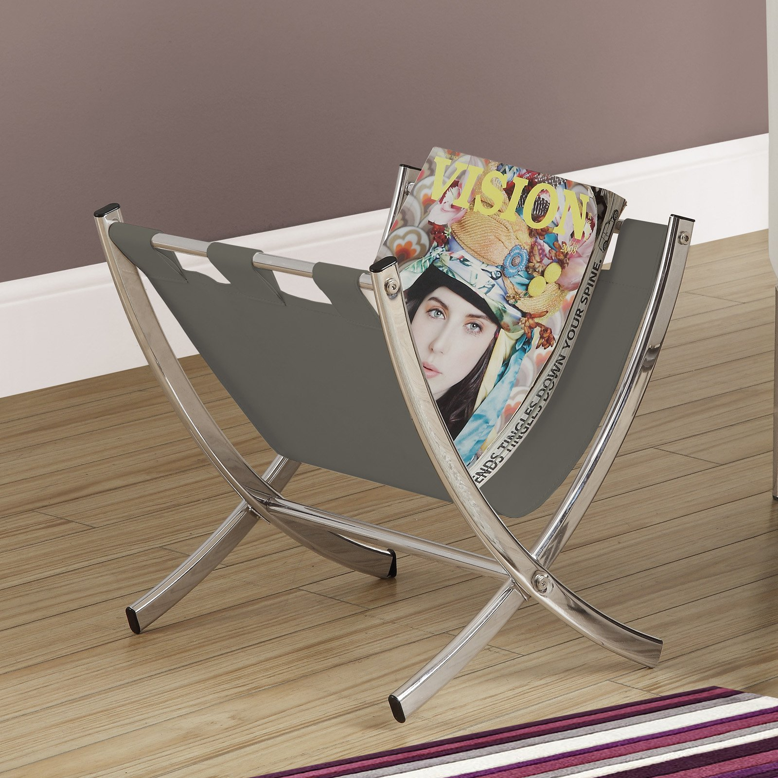Magazine Rack Grey Leather-Look   Chrome Metal by monarch