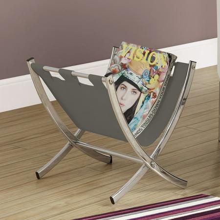 - Magazine Rack - Grey Leather-Look / Chrome Metal