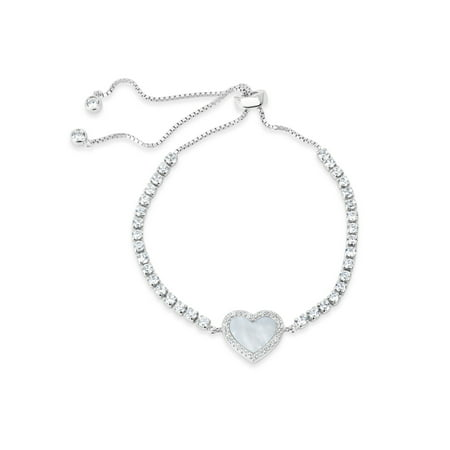 """10mm Mother Of Pearl and White Cubic Zirconia Sterling Silver Rhodium Plated Heart Box Chain Bolo Bracelet 10"""""""