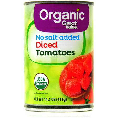 Organic Diced Tomatoes - Great Value Organic Diced Tomatoes, No Salt Added, 14.5 oz