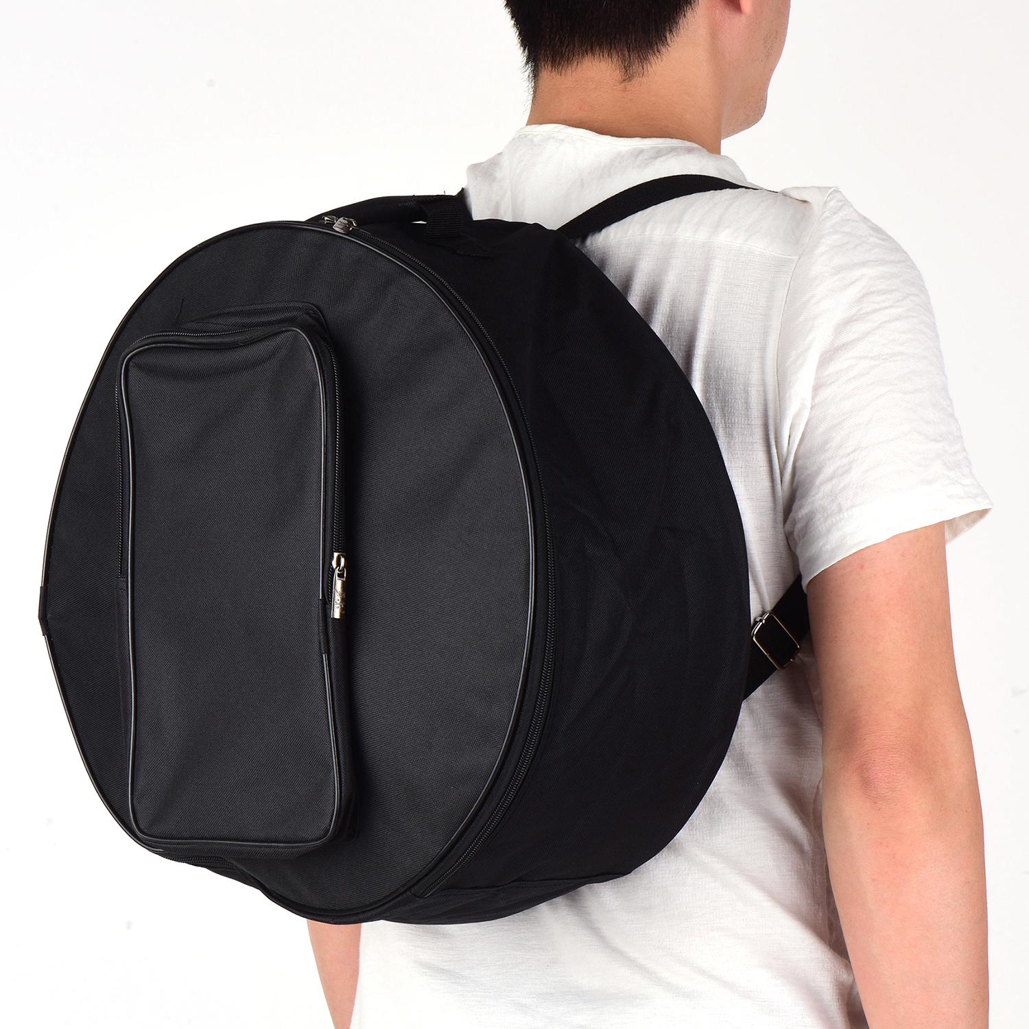Muslady Snare Drum Bag Compact Backpack Case with Shoulder Strap Outside Pockets Musical Instrument Accessory Black