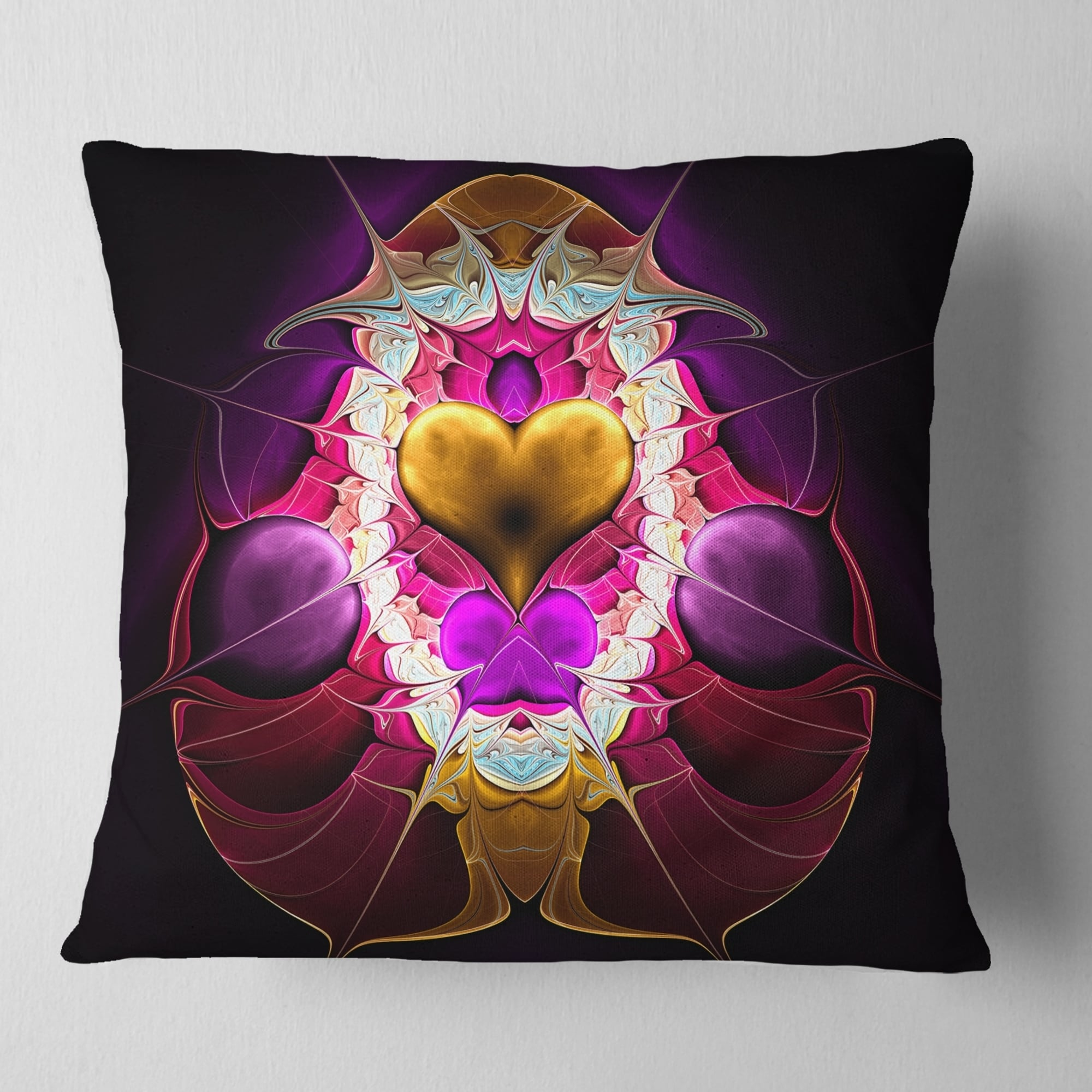 Sofa Throw Pillow 18 x 18 Designart CU12071-18-18 Large Pink Symmetrical Fractal Heart Abstract Cushion Cover for Living Room