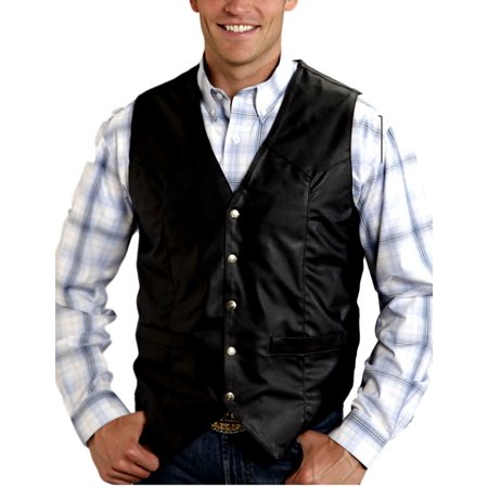 Roper Western Vest Mens Faux Leather Snaps Black 02-075-0600-0708 BL