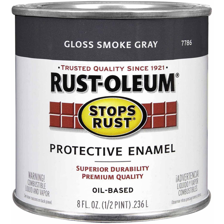 Rust-Oleum Stops Rust Protective Enamel, 1/2 pt, Gloss Smoke Gray