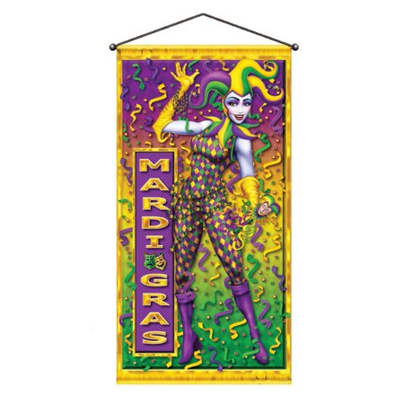Pack of 12 Colorful Mardi Gras Metallic Party Door or Wall Hanging Decorations 60