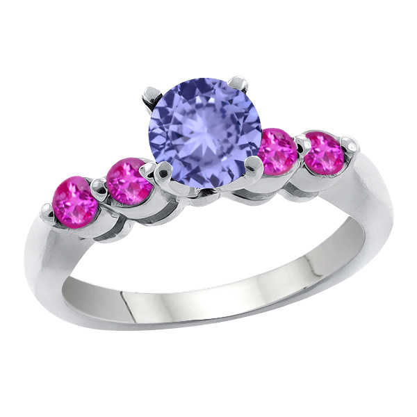 1.22 Ct Round Blue Tanzanite Pink Sapphire 18K White Gold Engagement Ring by