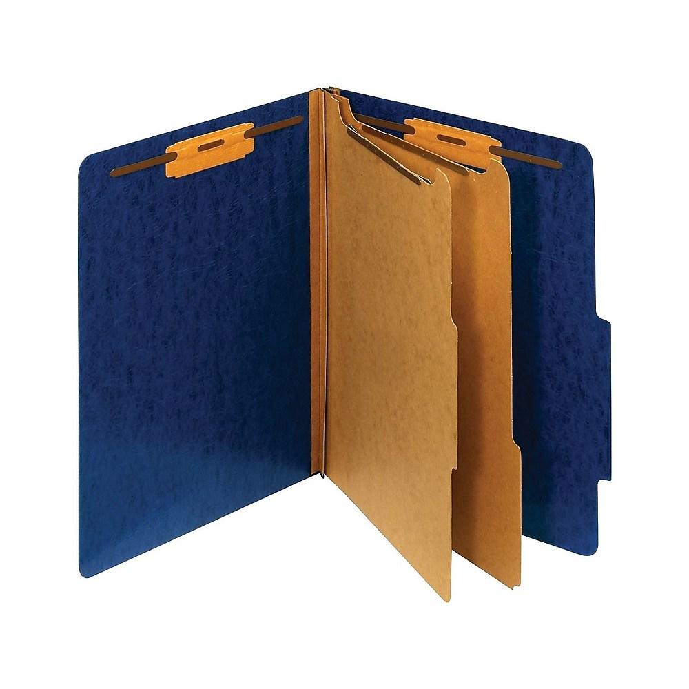Staples Moisture-Resistant Classification Folders 2/5 Top Tab Ltr 2 Div NavyBl 614620