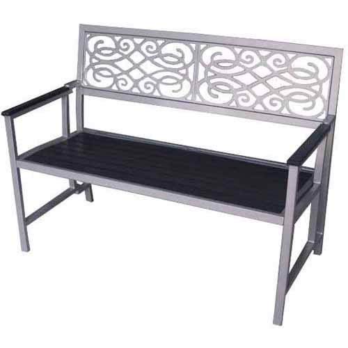 DC America Folding Park Bench, Natural Wood Tone Slats, Bronze Aluminum Frame