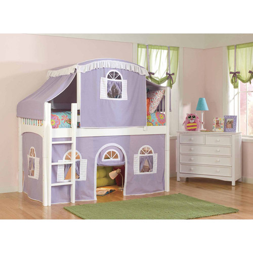 Bolton Furniture Windsor Twin Low Loft, White with Lilac/White Top Tent, Bottom Curtain
