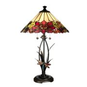 Floral with Dragonfly Metal and Resin Table Lamp in Antique Bronze Finish