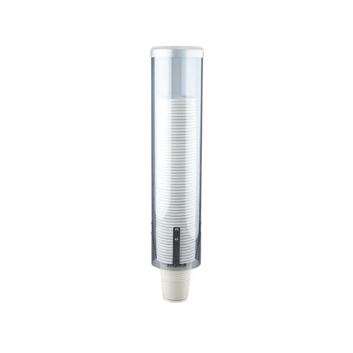 San Jamar Large Pull-Type Water Cup Dispenser in Translucent Blue