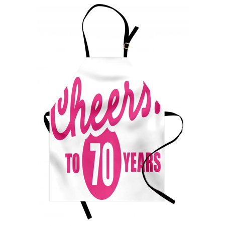 70th Birthday Apron Cheers To 70 Years Old Hand Written Calligraphy Party Image Unisex
