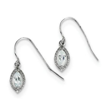 925 Sterling Silver Rhodium Plated Diamond & Marquise Cut Aquamarine Earrings Cut Aluminum Diamond Plate