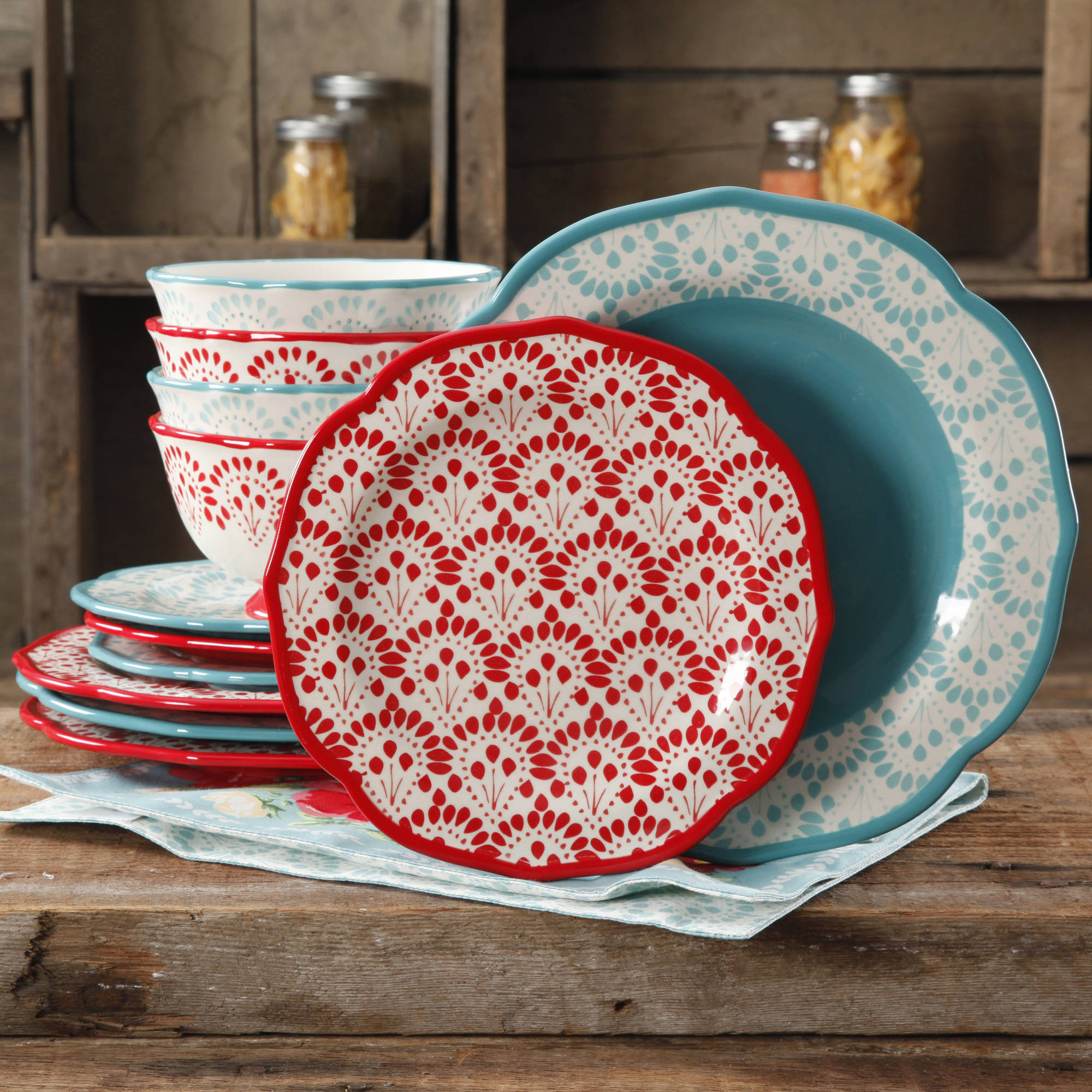 The Pioneer Woman Betsy Mix and Match 12-Piece Dinnerware Set & The Pioneer Woman Betsy Mix and Match 12-Piece Dinnerware Set ...