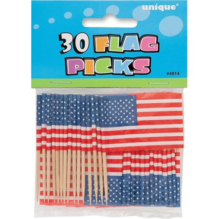 30 X America USA US Sandwich Party Flag Food Cake Cocktail Sticks Picks Decorations